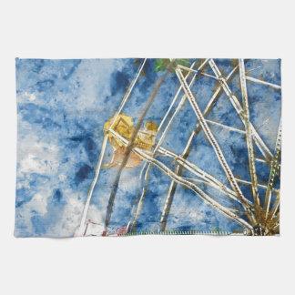 Watercolor Ferris Wheel in Santa Cruz California Hand Towels