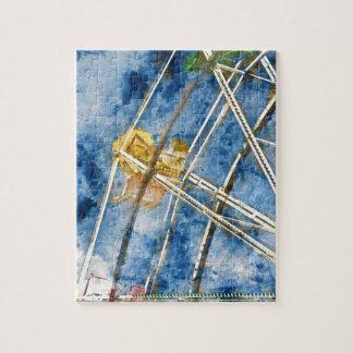 Watercolor Ferris Wheel in Santa Cruz California Jigsaw Puzzle