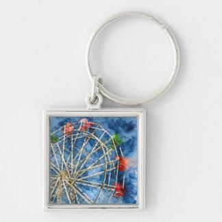 Watercolor Ferris Wheel in Santa Cruz California Keychain