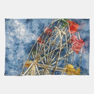 Watercolor Ferris Wheel in Santa Cruz California Kitchen Towels