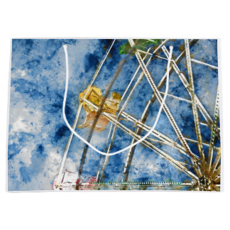 Watercolor Ferris Wheel in Santa Cruz California Large Gift Bag
