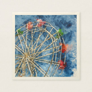 Watercolor Ferris Wheel in Santa Cruz California Paper Napkins