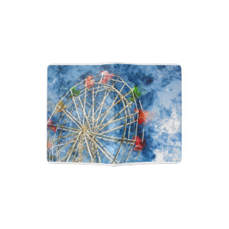 Watercolor Ferris Wheel in Santa Cruz California Passport Holder