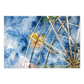 Watercolor Ferris Wheel in Santa Cruz California Photo Print