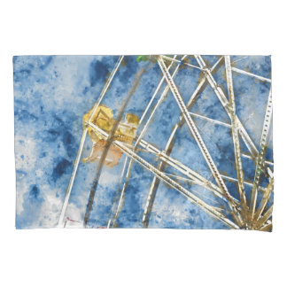 Watercolor Ferris Wheel in Santa Cruz California Pillowcase