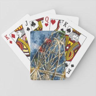 Watercolor Ferris Wheel in Santa Cruz California Playing Cards