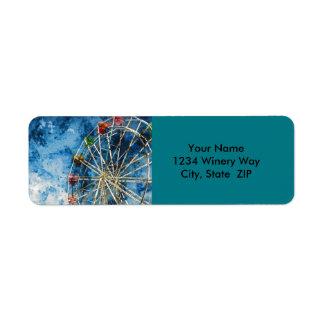 Watercolor Ferris Wheel in Santa Cruz California Return Address Label