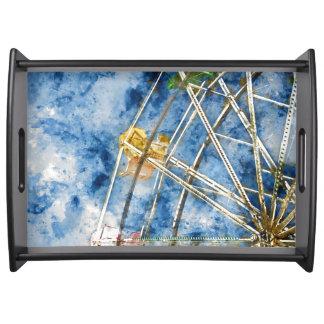 Watercolor Ferris Wheel in Santa Cruz California Serving Tray