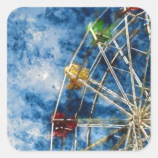 Watercolor Ferris Wheel in Santa Cruz California Square Sticker