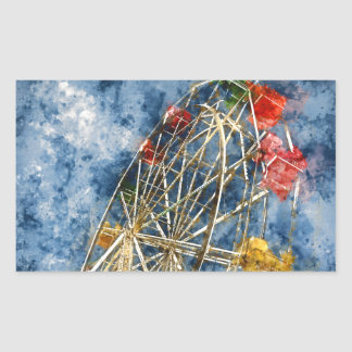 Watercolor Ferris Wheel in Santa Cruz California Sticker