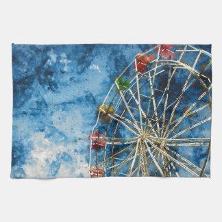 Watercolor Ferris Wheel in Santa Cruz California Towel