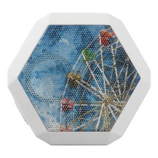 Watercolor Ferris Wheel in Santa Cruz California White Bluetooth Speaker