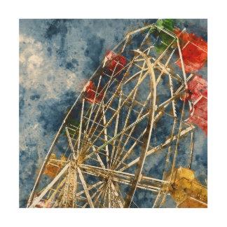 Watercolor Ferris Wheel in Santa Cruz California Wood Wall Art