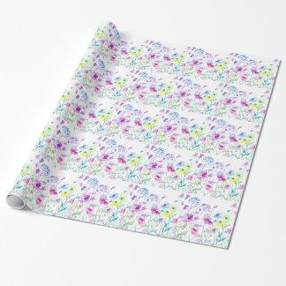 Watercolor Field of Pastel, Wildflower Meadow