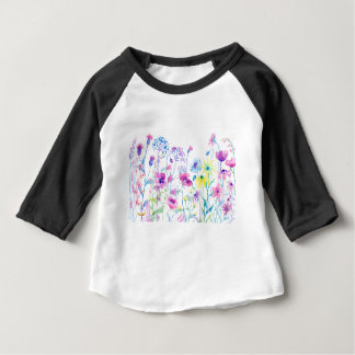 Watercolor Field of Pastel, Wildflower Meadow Baby T-Shirt