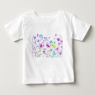 Watercolor Field of Pastel, Wildflower Meadow Baby T-Shirt