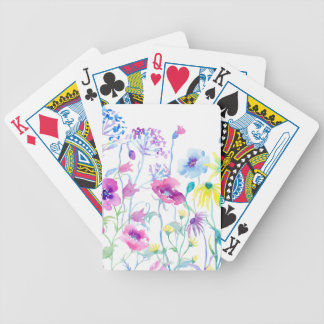 Watercolor Field of Pastel, Wildflower Meadow Bicycle Playing Cards