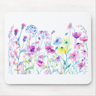 Watercolor Field of Pastel, Wildflower Meadow Mouse Pad