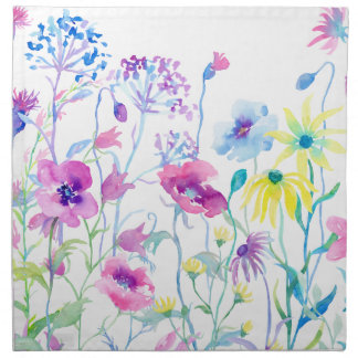 Watercolor Field of Pastel, Wildflower Meadow Napkin