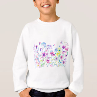 Watercolor Field of Pastel, Wildflower Meadow Sweatshirt