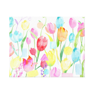 Watercolor Field of Tulips Canvas Print
