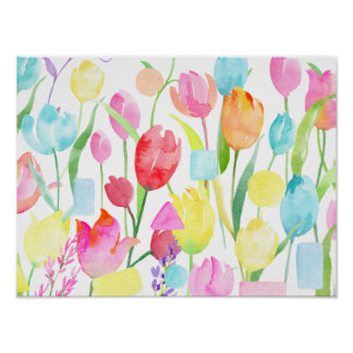 Watercolor Field of Tulips Poster