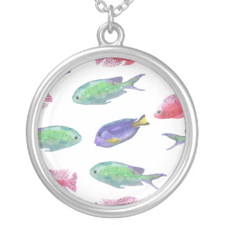 Watercolor Fish Pattern Silver Plated Necklace