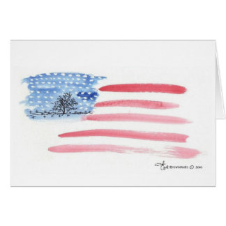 Watercolor Flag with Cemetery  Note Card