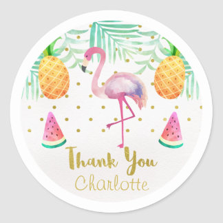 Watercolor Flamingo 1st Birthday Favor Sticker