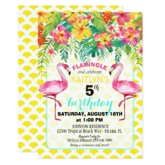 Watercolor Flamingo and Tropical Floral Birthday Card