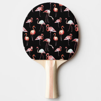 Watercolor flamingo black pattern tropical bir Ping-Pong paddle