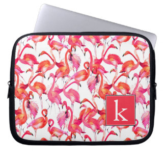Watercolor Flamingo In Watercolors | Add Your Name Computer Sleeves
