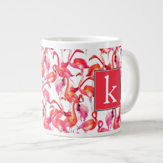 Watercolor Flamingo In Watercolors | Add Your Name Large Coffee Mug