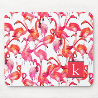 Watercolor Flamingo In Watercolors | Add Your Name Mouse Pad