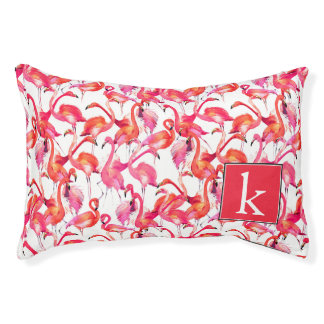 Watercolor Flamingo In Watercolors | Add Your Name Small Dog Bed