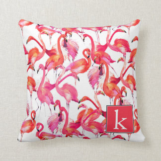 Watercolor Flamingo In Watercolors | Add Your Name Throw Pillow
