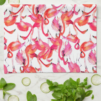 Watercolor Flamingo In Watercolors | Add Your Name Towels