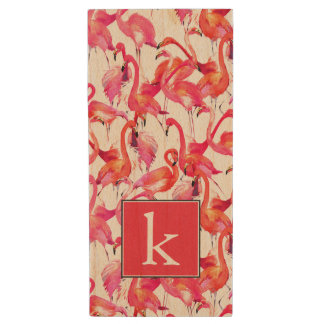 Watercolor Flamingo In Watercolors | Add Your Name Wood USB 2.0 Flash Drive