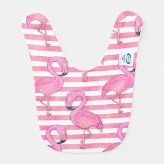 Watercolor Flamingo on Pink Stripes Bib