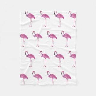 Watercolor Flamingo Pattern on a Blanket
