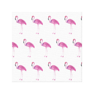 Watercolor Flamingo Pattern on a Canvas Print