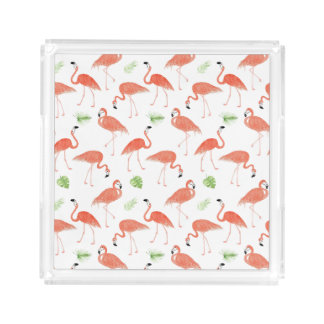 Watercolor Flamingo Pattern Perfume Vanity Tray