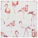 Watercolor flamingo pattern tropical bird fabric
