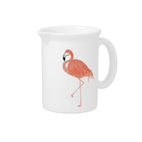 Watercolor Flamingo Pitcher
