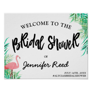 Watercolor Flamingo Tropical Bridal Shower Welcome Poster