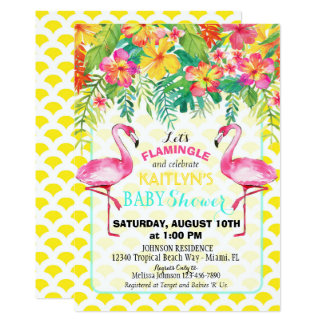 Watercolor Flamingo Tropical Floral Baby Shower Card