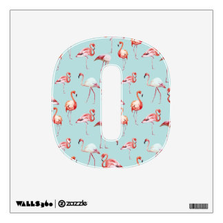 Watercolor flamingo turquoise pattern tropical wall sticker