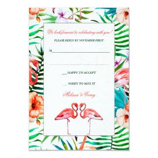 Watercolor Flamingo Wedding Response Card