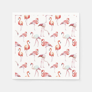 Watercolor flamingo white pattern tropical paper napkins