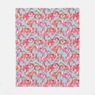 Watercolor Flamingos Gathered Fleece Blanket